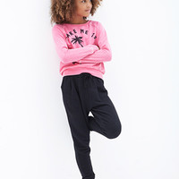 FOREVER 21 GIRLS Textured-Knit Joggers (Kids)