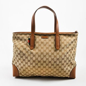 """Men's Gucci Brown and Beige Canvas and Leather Monogram """"Original GG"""" Tote Bag"""