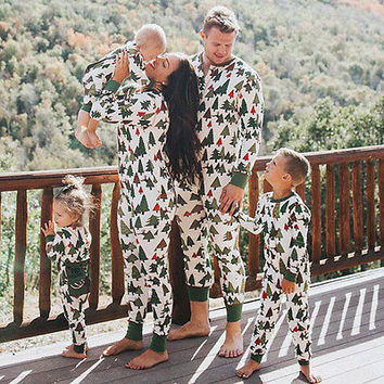 Family Matching Christmas Tree Pajamas Set Adults Baby Kids Sleepwear Nightwear papa mama kids clothes