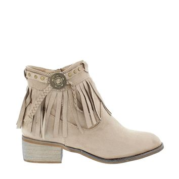 Fringe Ankle Bootie (TAUPE)