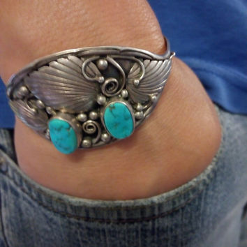 Native American Bisbee Turquoise Sterling Silver Cuff & US mini Gold coin Gift