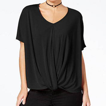 Miss Chievous Juniors' Deep-V Twisted Top | macys.com