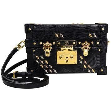Tagre™ Louis Vuitton Black Lizard Studded Petite Malle Crossbody Bag with Box