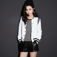 White Lace Stripe Printed Back Button Jacket