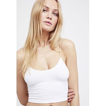 Free People - White Ribbed V Brami Spaghetti Strap Top