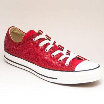 LMFUG7 Sequin Custom Seaweed Sequin Red Canvas Converse Low Top Sneakers Tennis Shoes