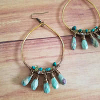 Bohemian Chandelier Earrings Brass Tear Drop Earrings Wire Wrapped with Turquoise Peridot and Ruby in Fuchsite Hippie Gypsy Earrings