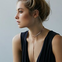 Free People Womens Delicate Chain Choker Bolo