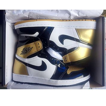 Nike Air Jordan Retro 1 Gold Contrast Sports shoes High Tops