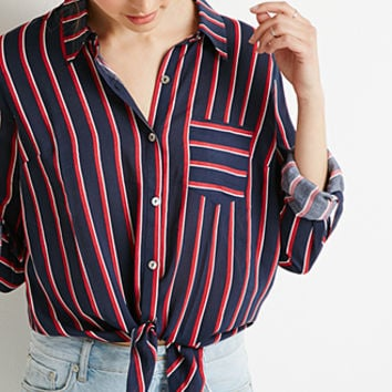 Stripe Knotted-Waist Blouse