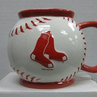 MLB Boston Red Sox Sculpted Baseball Mug, 15-Ounce, White