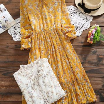 Bandage Floral Print Pleated Dresses