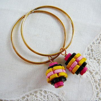 Brass Hoop Earrings Vintage Wood Beads Pink Fuschia Yellow