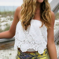 All Things Fabulous White Lace Embroidered Bubble Cropped Tube Top