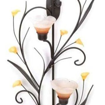 Iron Amber Lilies Candle Wall Sconce
