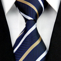 Striped Gold and White on Blue Silk Tie