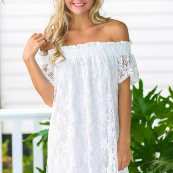 Lovely In Lace White Off-The-Shoulder Dress