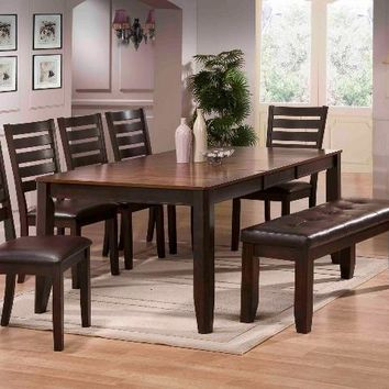 6 pc Elliott two tone dark wood finish dining table set with vinyl upholstered chairs