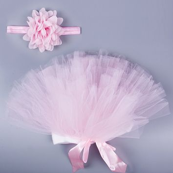 0-24M Newborn Toddler Infant Baby Tutu Clothes Skirt Headdress Flower Photography Prop 2PCS Outfit 0-24M