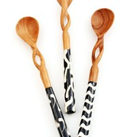 Olive Wood Twisted Sugar Spoon Wooden Spoon