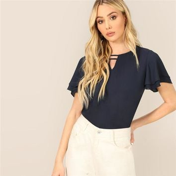 Navy Strappy Keyhole Neck Layered Flutter Sleeve Top Chiffon Blouse Women Solid Office Lady Basics Workwear Blouses