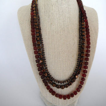 Deep Dark Red Glass and Bronze Cubes Necklace by SycamoreSticks