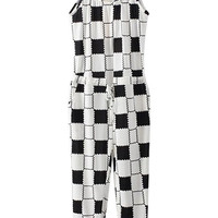 ROWME Straps Color Block Check White Jumpsuit