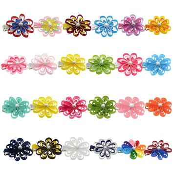 "24PCS 2-2.5"" Hair Bows For Girls Kids Cute Hairpin Grosgrain Ribbon Flower Hair Clip Barrettes Korean Hair Accessories"