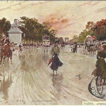 Paris Avenue Des Champs Ely George Stein Antique French Postcard