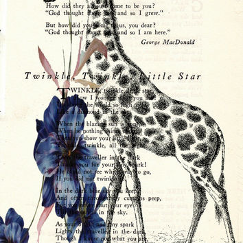 Giraffe and Dark Blue Flowers Book Art Print Poem Page Art Print Vintage Page Art Geeky Kitsch Print Upcycled Wildlife Print cp180