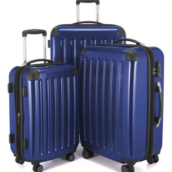 "HAUPTSTADTKOFFER Luggages Sets Glossy Suitcase Sets Hardside Spinner Trolley Expandable (20"" 24"" & 28"") TSA Darkblue 3 pcs/20""24""28"" '"