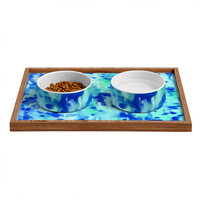 Rosie Brown Blue On Blue Pet Bowl and Tray