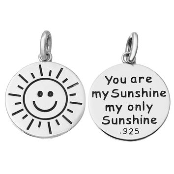 Jewelry Badger Originals Sterling Silver You Are My Sunshine Necklace Bracelet Charm Made in USA