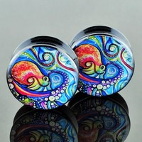 Pair Acrylic Ear Gauges Plugs Flesh Tunnels Expanders Screw Painted Octopus