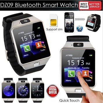 Toper 2017 Wearable Devices Smartwatch Clock DZ09 Bluetooth Smart Watch for Android Phone with SMI/TF Men Women Sport Wristwatch