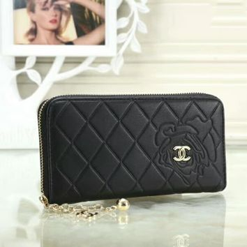 CHANEL Trending Women Stylish Pure Color Leather Metal Zipper Wallet Purse BlackI-OM-NBPF