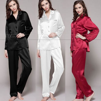 Womens Silk Satin Pajamas Set  Pajama Pyjamas  Set  Sleepwear  Loungewear  S,M, L, XL, 2XL, 3XL  Plus Solid__Fit  All Seasons