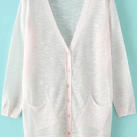 Pink V-neck Long Sleeve Pockets Cardigan with Buttons
