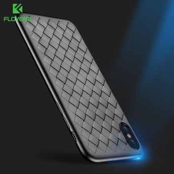 FLOVEME New Soft Case For iPhone X Luxury Silicone Grid Weaving Case For iPhone X 10 6 6s 7 8 Plus Back Cases Coque