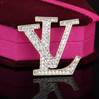 Louis Vuitton LV New fashion more diamond women brooch accessories Golden