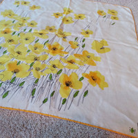 Vintage Silk Vera Scarf, California Yellow Golden Poppies, Poppy Flowers, Yellow and White Silk Large Scarf Wrap, FREE US Shipping