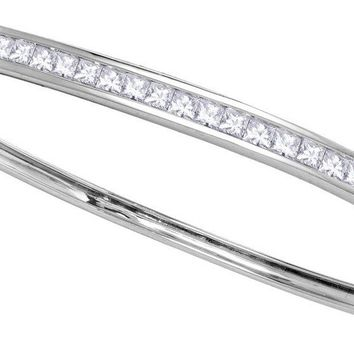 14kt White Gold Womens Princess Channel-set Diamond Single Row Bangle Bracelet 2.00 Cttw