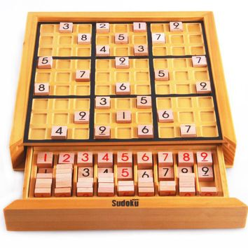 BOHS Beech Wood Adult Desktop Game Memory Chess Sudoku  Puzzle Game Board Toys