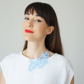 Blue Lace Necklace Statement Necklace Gold Necklace / VALENTINO