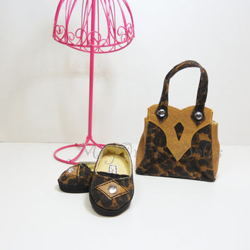 "American Girl Dolls Designer Purse and Shoes in Brown Leopard - ""TESSIE"" - by MegOri's Dolls"
