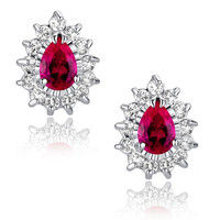Red Teardrop and Clear Round Cubic Zirconia Stud Earrings