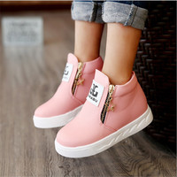 2016 New arrived Autumn fashion girls boots children flat shoes zip red black pink PU ankle kid shoes size 26-36  MHYONS