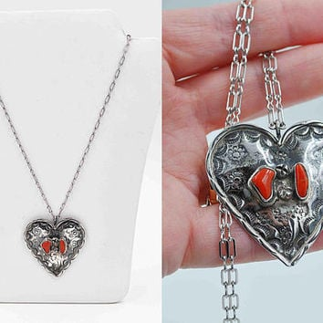 Vintage Navajo Sterling Silver Coral Heart Pendant Necklace, Red, Stamped, Floral, Handmade, Paper Clip Chain, So Unique! #c278