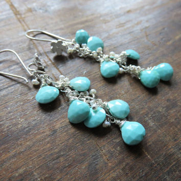 Sleeping Beauty Turquoise and Tiny Freshwater Pearls Sterling Silver Wildflower Cluster Earrings