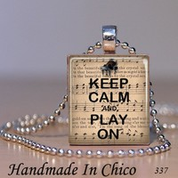 Scrabble Tile Jewelry - Keep Calm and Play On Piano Music Pendant 337 - with Decorative MATCHBOX gift box - Handmade Crafts by Handmadeinchico